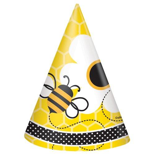Fleißige Bienchen-Partyhüte mit schwirrenden Bienen und Blumenmotiv, 8er Pack (Insekten Party Supplies)