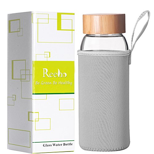 Reeho Tragbare 1000ml Trinkflasche aus Glas, BPA-frei Wasserflasche Glas, Borosilikat Glasflasche Mit Nylon Tasche und Edelstahlfilter (Grau-2, 1000ml)