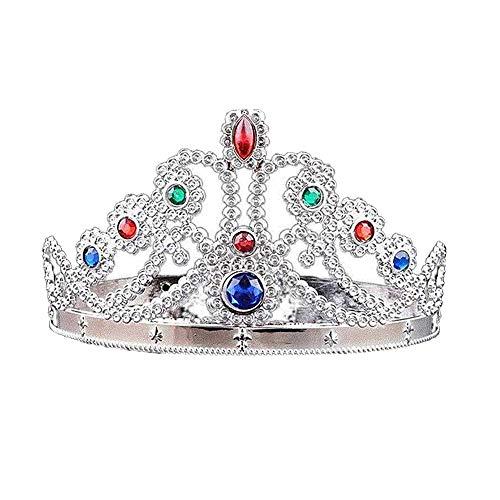 Ouken Rollenspiel Crown Dress-Up Tiaras und Kronen Royal Princess Tiara Jeweled Kostüm Accessoires für Kinder Silber - Crown Royal Kostüm Mädchen