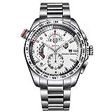 SROMEZ Herren Uhren Chronograph Luxus Business Mit Edelstahl Armband Wasserdichte Analog Quarzuhr,Silver1