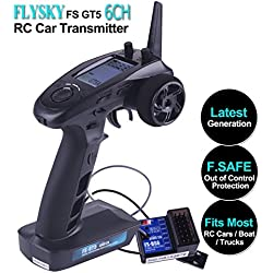 Flysky FS GT5 6 Channels RC Transmisor with Flysky FS BS6 RC Receptor, 2.4GHz AFHDS RC Transmitter [F.SAFE Fuera de control de protección, ajuste de ABS, rango de control de aproximadamente 200 m, segunda generación de AFHDS 2A] para RC Barco de coche por LITEBEE