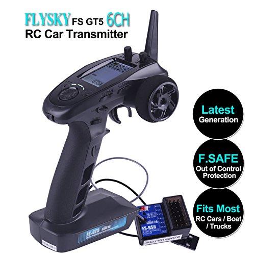Flysky FS GT5 6 Kanal Fernsteuerung 2.4GHz AFHDS RC Sender Transmitter mit Flysky FS BS6 RC Empfänger [F.SAFE außer Kontrolle schützen, ABS Einstellung, Steuerbereich über 200m, zweite Generation AFHDS 2A] für RC Car Boat von LITEBEE