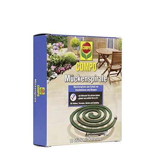 COMPO Mückenspirale, Schutz vor Stechmücken und Wespen, 10 Stück inkl. Halterung, Grün