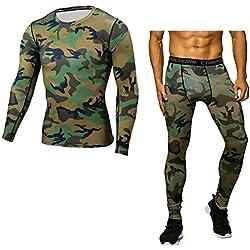 Hombre Compresión Leggings Camuflaje Apretadas Deportes Pantalones & Camiseta M