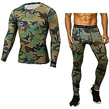ZhuiKun Hombre Compresión Leggings Camuflaje Apretadas Deportes Pantalones    Camiseta e641b05236e