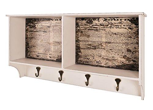 Wandgarderobe mit 2 Ablagefächern in Vintageoptik aus MDF; Maße in cm: 76x15x40