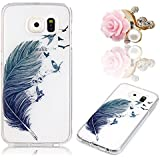 Coque Galaxy S7 Edge, Sunroyal® Coque Samsung Galaxy S7 Edge G9350 SM-G935 Transparente TPU Silicone Housse Etui [ Liquid Crystal ] Premium Souple Couvrir Ultra Mince Clair Case Cover Smartphone Portable de Protection [Anti-rayures] [Anti-shock] Couverture Coquille Arrière + 1* Universal Bouchon Anti-poussière, Motif Print Plume