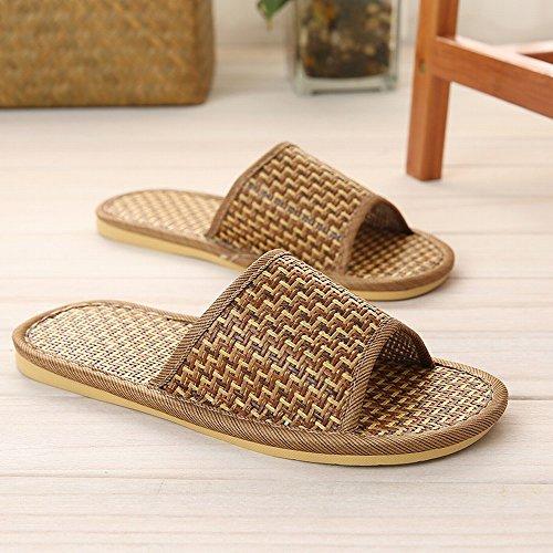 Pantofole Di Paglia Di Bambù Rattan Coppia Pantofole Antiscivolo Casa Coperta Pavimento in Legno Paglia Stuoia Pantofole,UN,42-43 (per 41-42 iarde)