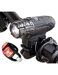 Luces Bicicleta Delantera y Trasera, LED Luz de Bicicleta Potente Delantera, USB Recargable Impermeable Luz Bicicleta
