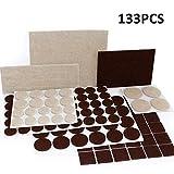 Ecoki Premium Filzgleiter Set,9 verschiedenen selbstklebenden Stickern aus Filz für Möbel,Stühle und Tische (Braun/Beige)