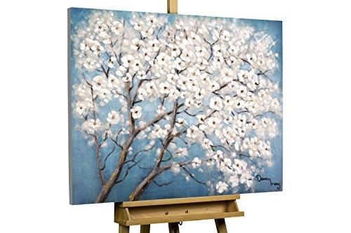 KunstLoft® Acryl Gemälde 'Dream of Blue' 100x75cm | original handgemalte Leinwand Bilder XXL | Weiß Blüten Baum Blau | Wandbild Acryl bild moderne Kunst einteilig mit Rahmen (Blaue Original-gemälde)