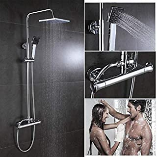 Duscharmatur, Thermostat-Mischbatterie, Doppelkopf, verchromt, freiliegendes Ventil, 20,3 cm, Regenkopf und Handbrause, 10 Jahre Garantie
