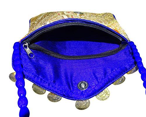 Sacchetto Di Spalla Etnico Del Corpo Della Borsa Della Borsa Dell'Imbracatura Della Borsa Del Ricamo Delle Donne Indiane Blu