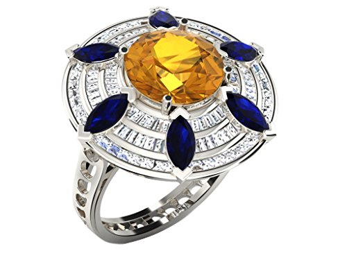 Fullcutdiamond   925  argento Rotonda   IJ Diamante Zaffiro giallo