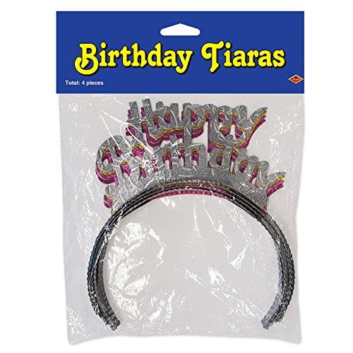 Beistle verpackt Happy Birthday Tiaras, Silber/pink/Gold (Birthday Happy Erwachsene Tiara)
