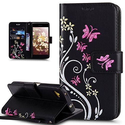 Sony Xperia Z5 Compact Hülle,Bunte Gemalt Prägung Schmetterlings Blumen Muster PU Lederhülle Flip Hülle Cover Ständer Etui Karten Slot Wallet Tasche Case Schutzhülle für Sony Xperia Z5 Compact,Schwarz