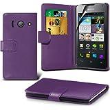 ( Purple ) Huawei Ascend Y300 Ledergeldbörse Flip Hülle Tasche Mit-Schirm-Schutz-Schutz By Spyrox