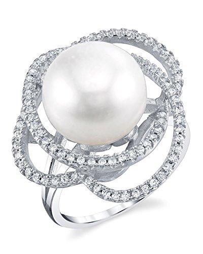 The Pearl Source  -  925 Sterling-Silber  Silber  Flach Süßwasser-Zuchtperle  Perle