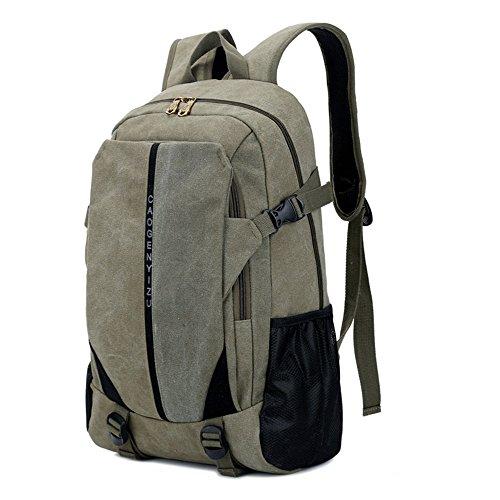 Canvas Tasche Männer Und Frauen Rucksack Tasche Freizeit Tasche 15 Zoll Computer Bag Sporttasche Einfache, Khaki Militär Grün
