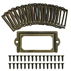 TANCUDER Möbelknöpfe Set Vintage Metall Bronze Griffe Rahmen Label Halter Etikettenhalter Türknopf für Namensschilder Apothekerschrank Schublade Schrank oder Aktenschrank (70 * 33mm)