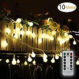 LED Lichterkette Außen Batterie 10M/33FT 80 Glühbirnen - Wasserdichte Outdoor Lichterkette für Party/Garten / Weihnachten/Terrasse - 8 Modi Fernbedienung Kontroller