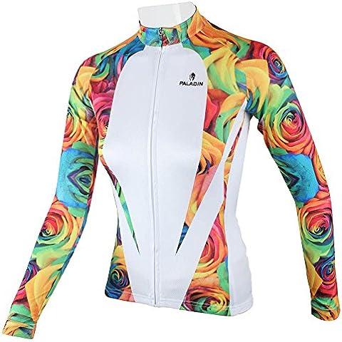 Paladino sportivo Donna Primavera Estate Autunno stile 100% poliestere Maniche lunghe Outdoor Rose ciclismo maglia traspirante Abbigliamento