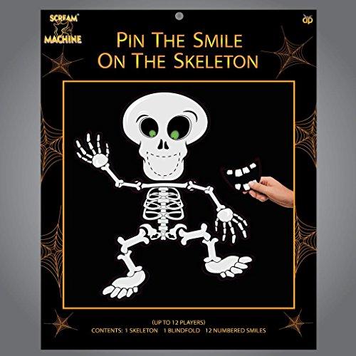 Halloween-Party Spiel - Steck den Lächeln auf das Skelett - Partys Esel Wand Totenkopf