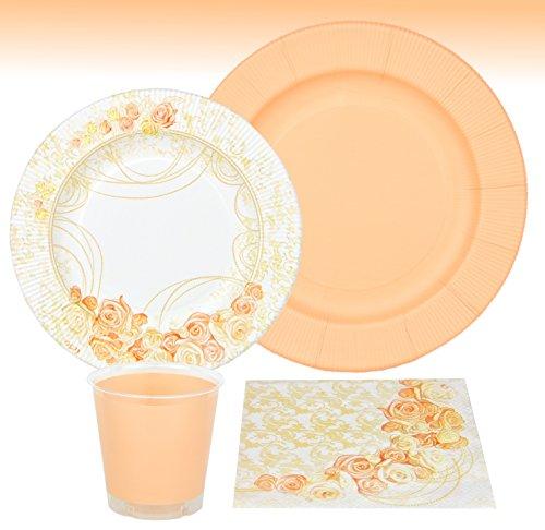 MamboCat 44-tlg. Einweggeschirr Party-Set Pfirsich für 8 Personen aus Papptellern, Servietten und Bechern für festliche Anlässe mit pfirsich-farbigen Rosenverzierungen