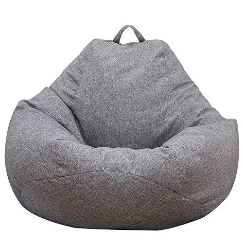 Dandelionsky Klassischer Sitzsack/Sofa-Bezug, Lazy Lounger Bean Bag Storage Chair Cover für Erwachsene und Kinder ohne Füllung, grau, 80x90cm