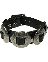 WB474 Real Leather Concho Metal Studded Real Leather Handmade Wristband Black Studded Gothic Punk Design