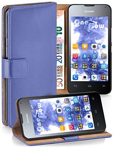 moex® Booklet mit Flip Funktion [360 Grad Voll-Schutz] für Huawei Ascend Y300 | Geldfach & Kartenfach + Stand-Funktion & Magnet-Verschluss, Hell-Blau
