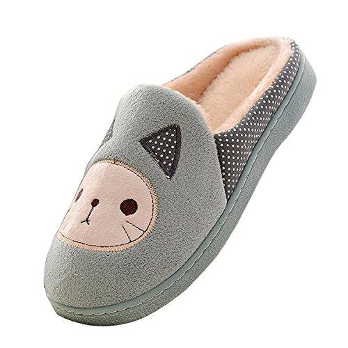 Minetom Mujeres Niñas Otoño Invierno Zapatillas Suave Felpa Zapatillas Cartoon Gato Algodón Zapatos Verde