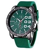 Amlaiworld Orologio sportivo uomo,Orologio sportivo di lusso elegante enorme grande quadrante Silicone Band (verde)