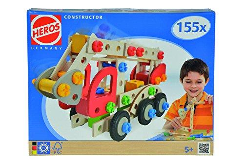 Eichhorn/Heros 100039085 - Constructor, Feuerwehrauto 155 teilig, bunt - Holz-Konstruktions-Set  - 3 verschiedene Modelvarianten baubar - Made in Germany