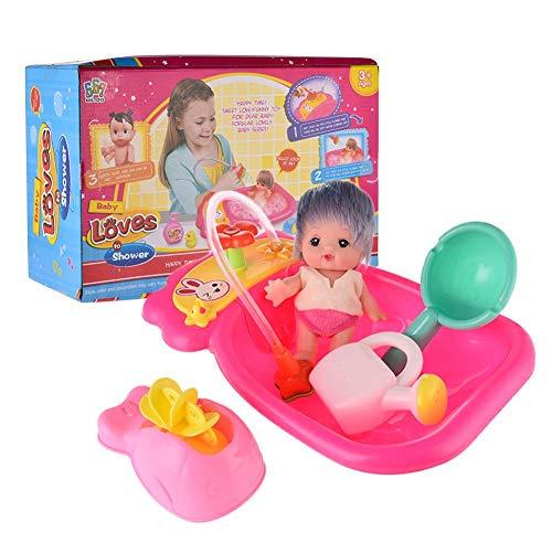 Wasserkocher Windmühle Spielzeug Set Handpresse Streuen Badespielzeug Set Puppe mit Farbwechsel Haar Badewanne Spielhaus Sommer Spiel für Kinder Kinder Mädchen ()