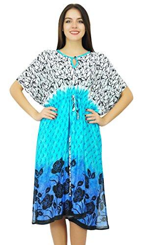 Bimba Womens Printed Tunnelzug Kaftan Home Wear Cover Nach oben Kaftan Nachtkleid (Womens Printed Kaftan)