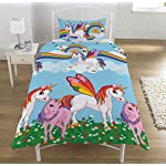 KidCollection Rainbow Unicorns Single/Double Reversible Duvet Cover Bed Set