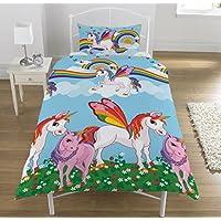 KidCollection Rainbow Unicorns Single/Double Reversible Duvet Cover Bed Set