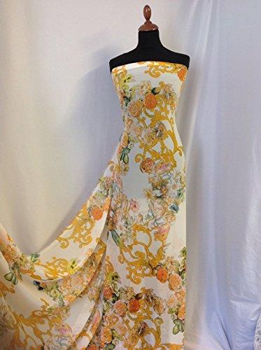 Floral Georgette Bluse (Iana Fabrics Floral Chiffon Print Stoff 152,4cm 154cm Kleid Sarong Craft Bluse sew1)