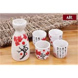 Vintage Ceramic Sake Pot and Cups Set with Characters Poem Japanese Cuisine Sake Bottle Spirit Pot Set with Cups