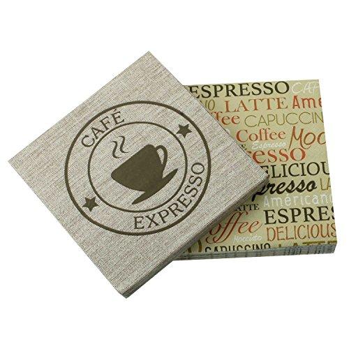 Servietten 2er Spar-Pack (40 Stück) verschieden bedruckt. Kaffeetasse, Espresso, Delicious, Coffee, Capuccino, braun, beige, hellbraun, sand 33x33 cm Tischdeko (Servietten 3-lagige Blume)