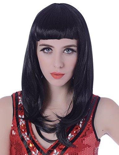 Parrucca nera lunga con frangia