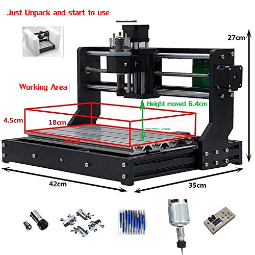 Purewords Pre-Assembled CNC 3018 PRO Router with Offline controller GRBL  Control LaserGRBL for PCB Wood Milling Engraving Machine+10pcs 3 175mm