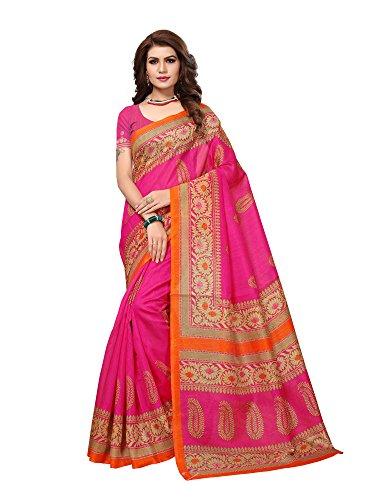 Mrinalika Fashion art silk saree With Blouse Piece (Pink Saree_Free Size)