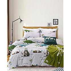 100% algodón solo mamut de tamaño completo y camas de impresión dinosaurios juego kids fundas de edredón