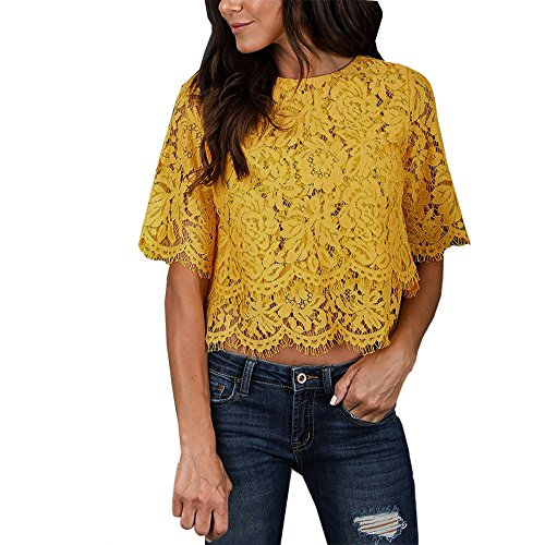 JMETRIC Reizvolles Doppellagige Spitze Durchbrochene Stickerei Kurze T-Shirt, Freizeit Monochrom Rundhals Kurzarm Tops(Gelb,L)