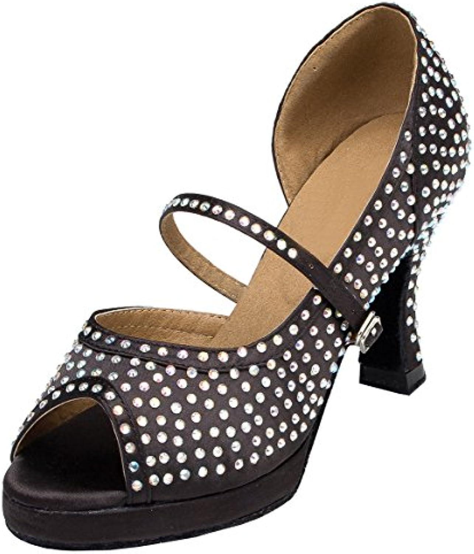 Women Latin Dance Shoes Ladies Ballroom Shoes Low-heeled Soft Bottom Sequin NLK