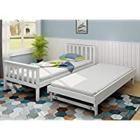 PANANASTORE Wood Single Day Bed- Pullout Trundle Included, 3FT Guest Bed in White 2in1 Underbed Bed Frame with Slatted Base