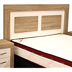 Cabezal cama de matrimonio color cambrian y soul blanco con melamina textura madera para dormitorio de 160cm ancho x grosor 30MM x 121cm altura