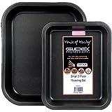 GlideXTM. Set de bandeja para horno, pequeña y mediana, con fuente para horno, antiadherente, de House of Henley.